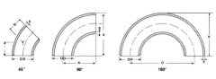 LONG RADIUS ELBOWS 45°90°180°ASME/ANSI B16.9